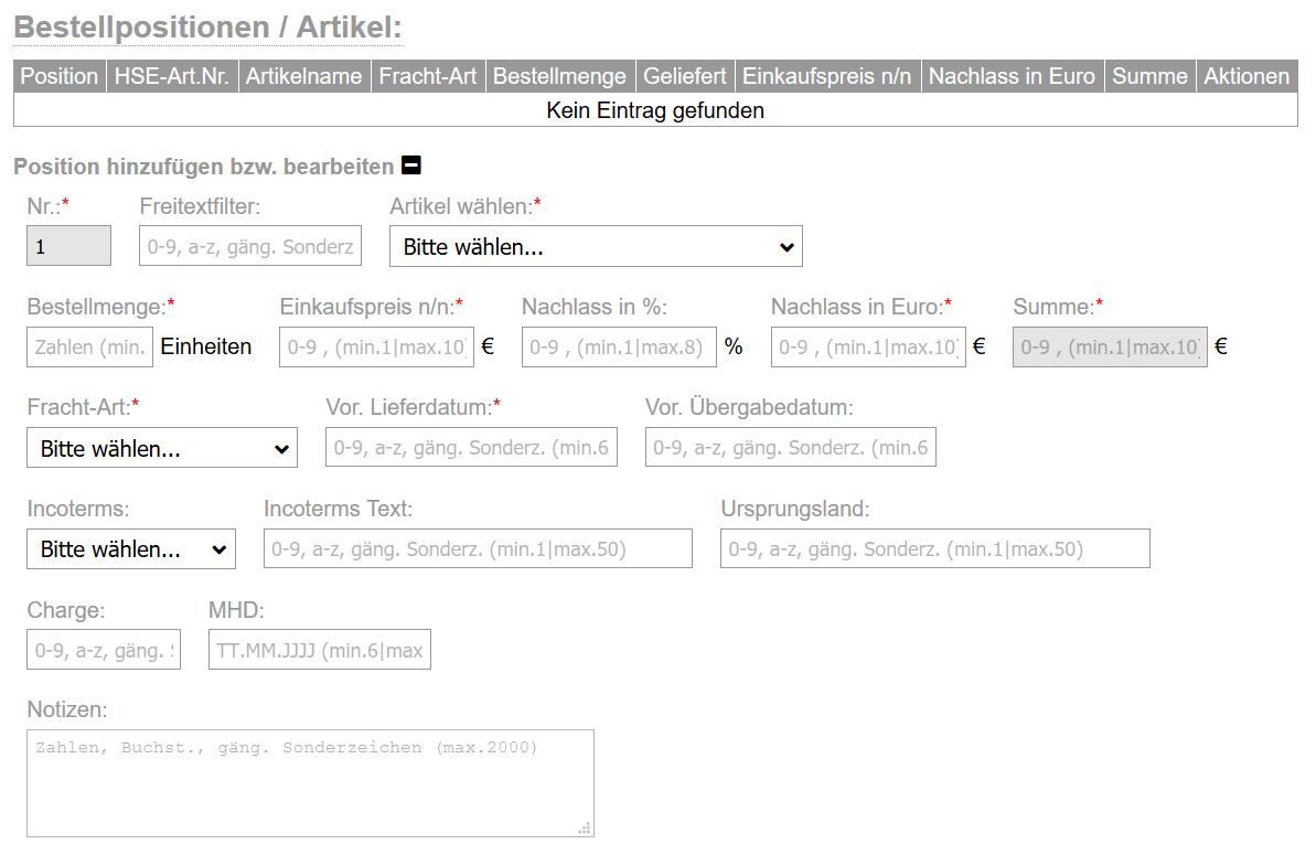 flexERP Artikelbeschaffung - Neue Position